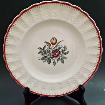 Copeland Spode Vintage Porcelain Plate French Flowers with Red Border Floral Center