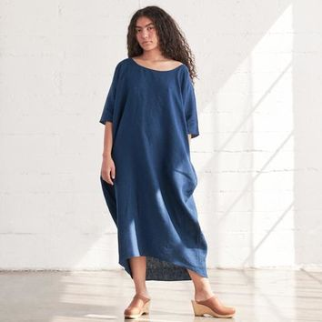 Rachel Craven Indigo Linen Long Cocoon Dress at General Store