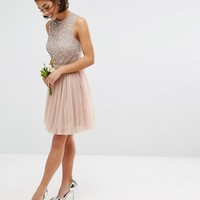 Maya Petite Sleeveless Sequin Top Mini Dress With Tulle Skirt And Bow Back Detail at asos.com