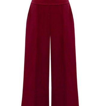 Plus Size Wide Leg Pants in Red & Black