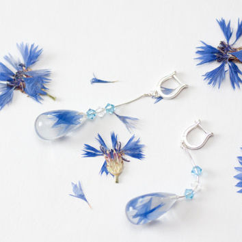 Cornflower blue wedding jewelry - Cornflower bridal earrings - Cornflower blue bridesmaid earrings - Something blue wedding accessory
