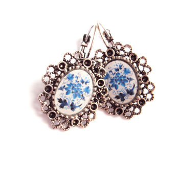 Retro Style Handmade Filigree Oval Earrings with Gzhel  Print - Glass Epoxy Resin - Ukrainian Jewelry - Mothers Day Gift - Gift for Her