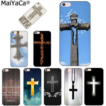 MaiYaCa Bible Jesus Christ Christian Cross Unique Luxury black Silicon phone case for iPhone 8 7 6 6S Plus X 5 5S SE 5C case