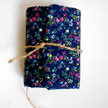 Dark blue flowers Journal, Handmade Diary, Travel Book, Old Paper, Pregnancy book