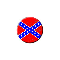 Confederate Southern Rebel Flag Distressed Lapel Hat Pin Tie Tack Small Round