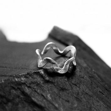 Sterling Silver Boho Wave Ring