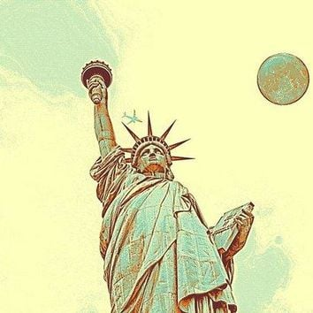 The Fool Blood Moon And The Lady Liberty  4 - Art Print