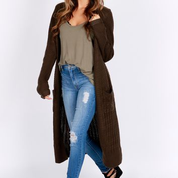 Knit Duster Cardigan Dark Olive