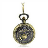 CredDeal United States Marine Corps Men's Alloy Quartz Pocket Watch Brass Tone Pw043 Withh Gift Box