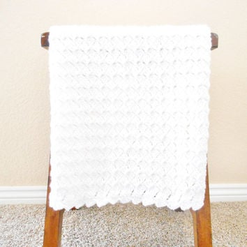 White Crochet Baby Blanket - White Christening Blanket - Crochet Baptism Blanket - Baby Shower Gift - White Crochet  Afghan