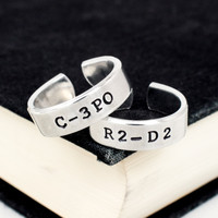 C-3PO and R2-D2 Ring Set - Star Wars - Best Friends Jewelry - Couples Ring Set