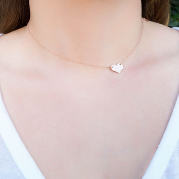 Sideways Heart Rose Gold Necklace