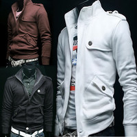 Men's Slim Coat Jacket Zip 4 Colors 4 Size Sweatshirt