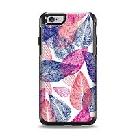 The Seamless Pink & Blue Color Leaves Apple iPhone 6 Otterbox Symmetry Case Skin Set