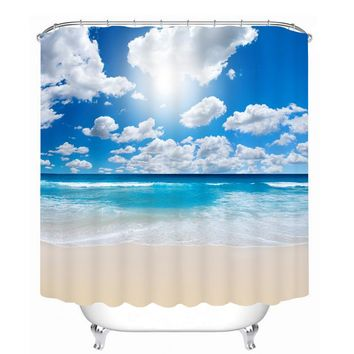 Bathroom Products Printed Polyester Bath Curtain Shower Curtain Blue sky and sea