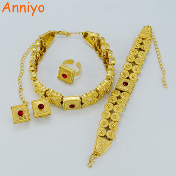 Anniyo Gold Color Ethiopian Wedding Set Jewelry Chokers Necklace/Clip Earrings/Ring Africa Habesha Eritrea Bridal Gift #013602