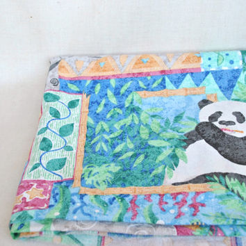Cotton fabric with a picture of a panda, rhino, elephant, turtles and other animals. Children's cotton. / 2.6 yards/ rustic chic fabric