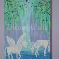 Horse Painting on Canvas, Waterfall Art, Childrens Fantasy Decor, Girls Wall Art