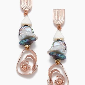 Abalone Dhokra Waterfall Drop Earrings - Rose Gold