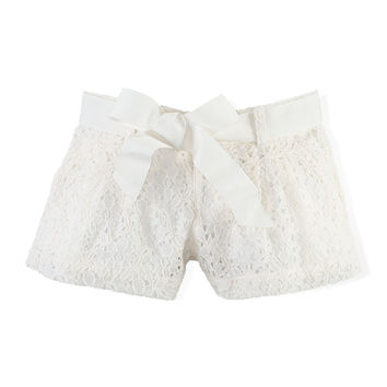 Belted Lace Shorts, Guide Cream, Size 2T-6X,