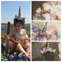 Cute Unicorn Horn with Chiffon Unicorn Headband Glitter Hairband Easter Bonus DIY Hair Decorative Accessoriess For Party