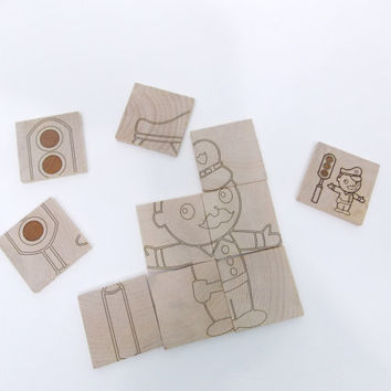Two-Sided Police and Dump Truck Handcrafted Wooden Puzzle