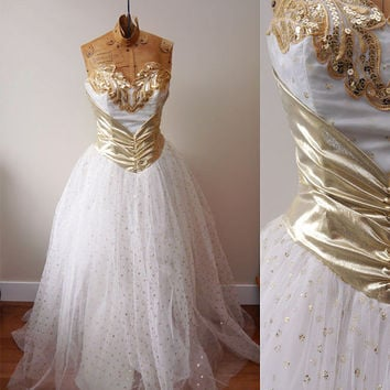 1980s She-Ra Prom Dress // Gold // vintage cocktail dress