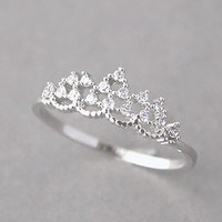 PRINCESS TIARA RING WHITE GOLD ENGAGEMENT TIARA RING COSTUME JEWELRY from Kellinsilver.com