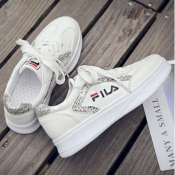 FILA Old Skool Newest Popular Women Casual Sneakers Sport Shoes White/Silvery