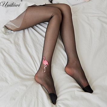 UNIKIWI Women's Tights Embroidery Applique Flamingo Pantyhose.Ladies Ultra-thin Silk Stockings Female Stocking Hosiery.4 Colors