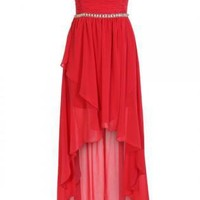 Coral Shirred Layered High Low Strapless Chiffon Dress