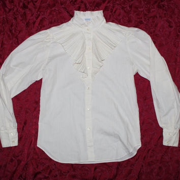 Vintage Levis Sz 6 Ruffle Cosplay Western Steampunk Victorian Blouse Shirt