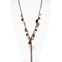 NECKLACE / LINK / BRASS / BURNISH / GLASS BEAD / LEAVES / PREMIUM COLLECTION / 7 INCH DROP / 30 INCH LONG / NICKEL AND LEAD COMPLIANT