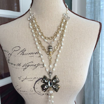 Layered Pearl and Chain Necklace, Multi Strand Necklace, Vintage Inspired Feminine Necklace - COCOBELLA