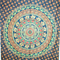 Elephant mandala Tapestry, Indian Mandala Tapestry, Bohemian mandala Tapestry, Cotton mandala Bed Cover,Hippie Hippy Wall Hanging, Bedspread