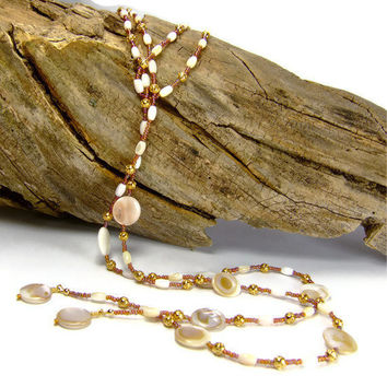 Sea Shell Necklace Lariat Mother of Pearl Necklace by AnandaBijoux