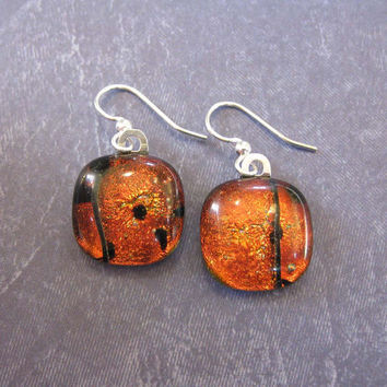Red Earings, Dangle Dichroic Earrings, Mothers Day Jewelry, Ear Jewelry on Etsy - Galena - 1706 -3