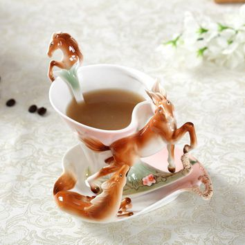 New Arrival Horse Enamel Coffee Cup