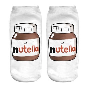 "1pair/pack  3d white ""nutella""Charactor Unisex Socks Hot women's unisex socks  Polyester Fashion  19*8cm Women Socks"