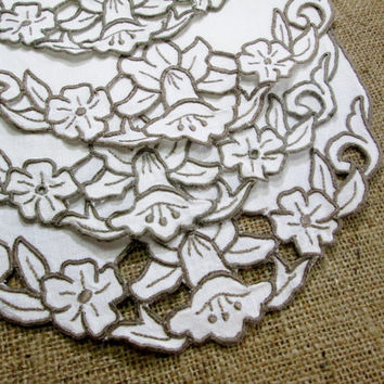 Madeira Place Mat Placemat Set Embroidered White Table Linens Cutwork Taupe Beige Embroidery Daffodils Doilies Hand Embroidery