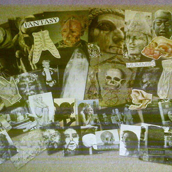 VINTAGE ephemera PAPER crafting lot (item#447) SPOOKY halloween -scrapbooking art collage supplies