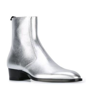 Nice Fashion Design Personal Limit Sliver Shining Chelsea Boots Male Genuine Leather Zipper Fashion Kanye West Boots GDstyle