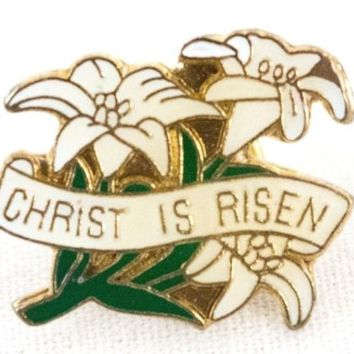 Easter Lily Brooch Enamel Christ is Risen Lapel Pin .9 in x .6 in  2 cm x 1.5 cm