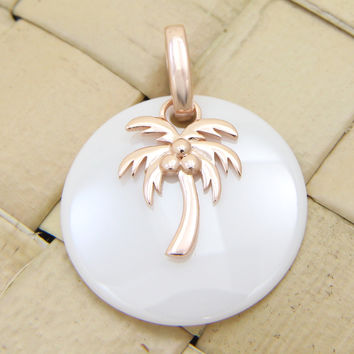 925 Silver Pink Rose Gold Hawaiian Palm Tree White Ceramic Circle Round Pendant
