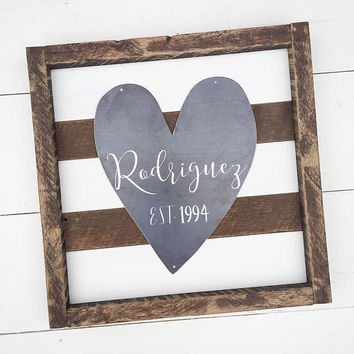 Established Sign | Barnwood Established Sign | Metal Heart | Last Name | Wedding Gift | Gallery Wall Decor | Rustic | Original Chippy Paint