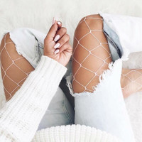 5 Colors Sexy Fishnet Stockings Women Nylon Mesh Pantyhose Casual Summer 2017 Long Stockings Female Party Club Colorful Tights