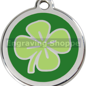 Green Clover Enamel and Stainless Steel Personalized Custom Pet Tag with LIFETIME GUARANTEE ID Tag Dog Tags and Cat Tags Free Engraving