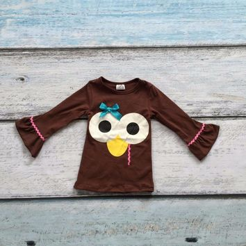 Thanksgiving baby Fall/winter girls cotton full sleeve icing turkey print boutique top T-shirt ruffles clothes baby kids wear