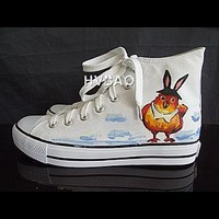 """Birds In Love"" High-Top Canvas Sneakers - Asian Fashion"