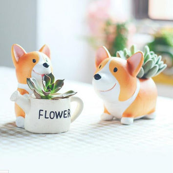 Creative Resin Flowerpot Kawaii Corgi Garden Pots Planters Jardin Bonsai Desk Succulent Flower Pot Can Mix Order Dropshipping